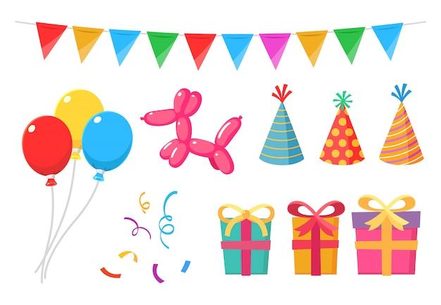 Itens de festa conjunto pacote com balões Vetor Premium