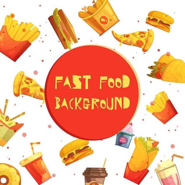 Itens de menu do restaurante fast-food fundo decorativo ou anúncio de retrô dos desenhos animados de quadro Vetor grátis