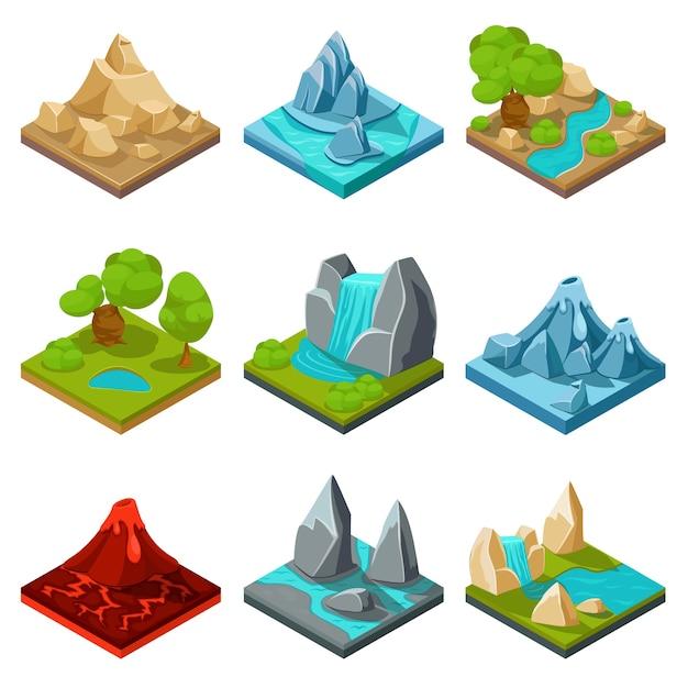 Itens do vetor do jogo terreno. jogo de pedras naturais, jogo de interface de desenho de paisagem, ilustração de jogo de camadas de rocha e água Vetor grátis
