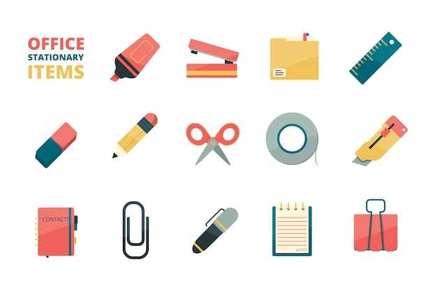 Itens estacionários. ferramentas de escritório de negócios pasta de papel lápis borracha caneta clipe de papel grampeador marcador coleção de ícones plana Vetor Premium
