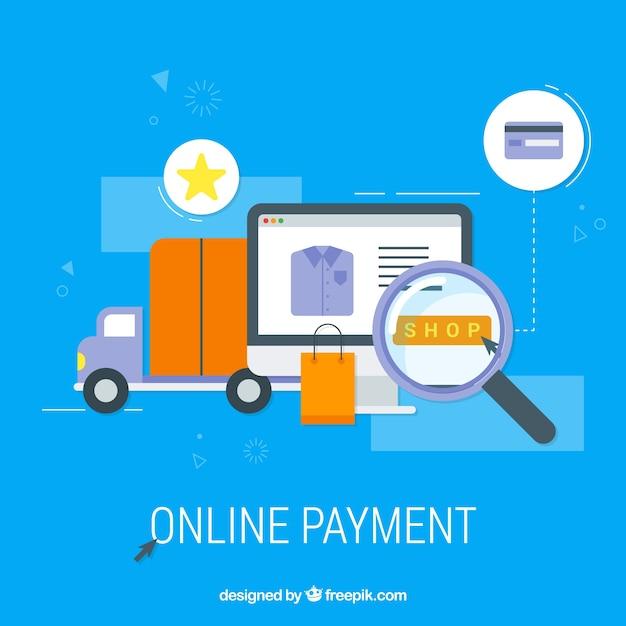 Itens planos sobre o pagamento on-line Vetor grátis