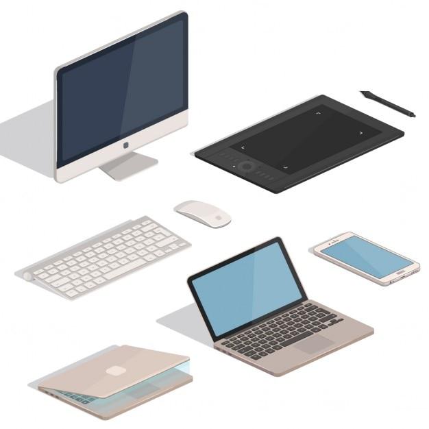 Itens tablet computer Vetor grátis
