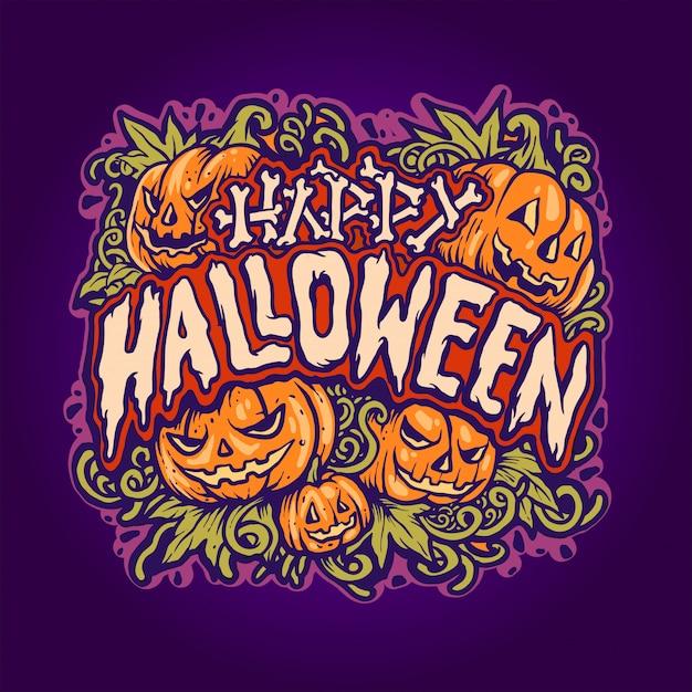 Jack o'lantern ilustração de halloween Vetor Premium