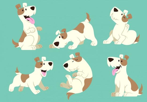 Jack russel terrier cachorro conjunto de desenhos animados Vetor Premium