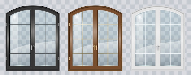 Janela arqueada de madeira Vetor Premium