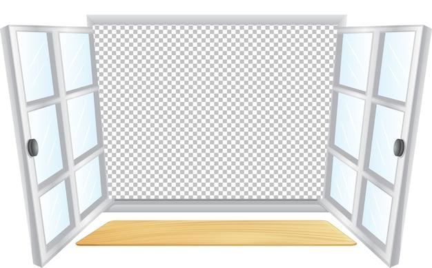 Janela branca aberta com fundo transparente Vetor grátis