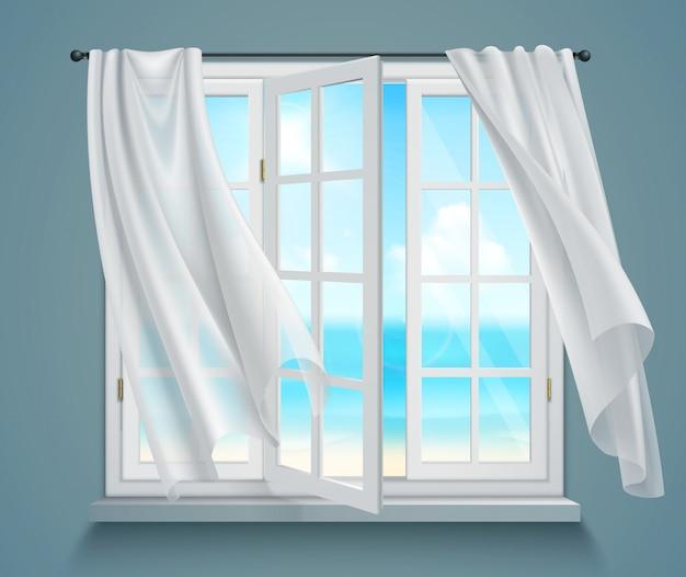 Janela com cortinas brancas ondulantes Vetor grátis