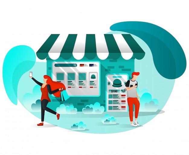 Janela de compras ilustração plana Vetor Premium