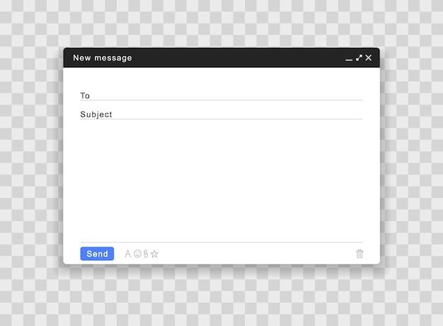 Janela de e-mail em branco. interface da página de correio. Vetor Premium