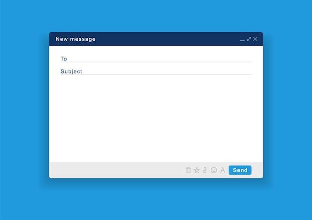 Janela de e-mail em branco. tela de modelo de e-mail com mensagem de correio. Vetor Premium