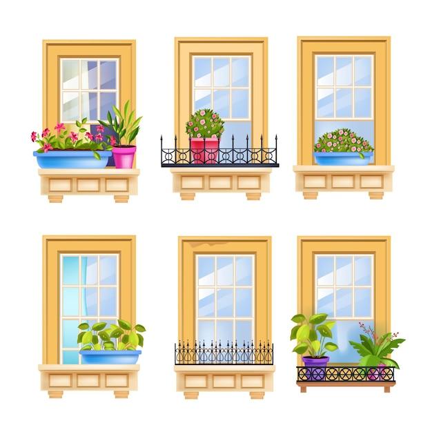 Janela de fachada de casa com plantas caseiras, rosas, moldura de madeira, grades de ferro. Vetor Premium