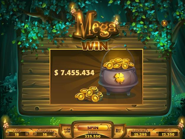 Janela de mega vitória do campo de jogo para interface de usuário do jogo. Vetor Premium
