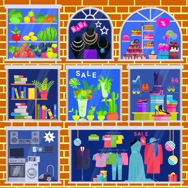 Janela de vetor de vitrine de loja de loja de roupas de loja de livros e joias conjunto de ilustração de janela caso de frutas legumes Vetor Premium