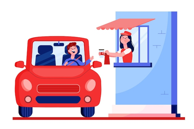 Janela do drive thru ilustrada Vetor grátis