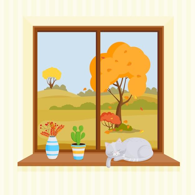 Janela sobre um fundo claro. fora da janela, há árvores com folhas amarelas. no peitoril da janela, há um buquê de folhas de outono, um cacto e um gato adormecido. Vetor Premium