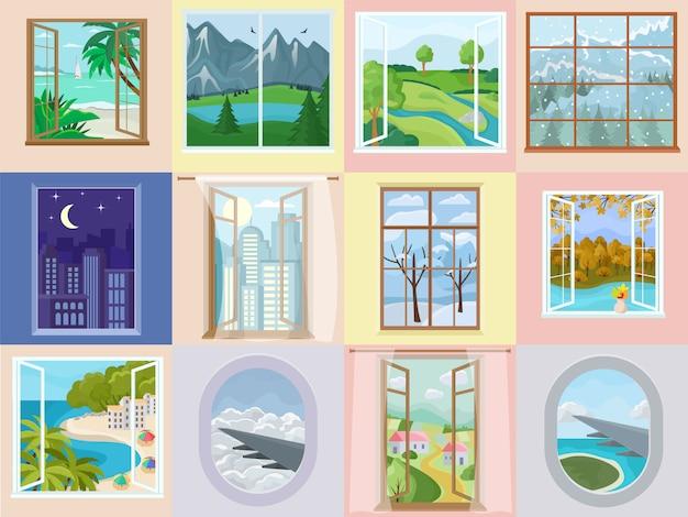 Janela vector home design de interiores com bela vista na montanha mar praia férias ilustração conjunto de decoração de moldura de madeira de casa Vetor Premium