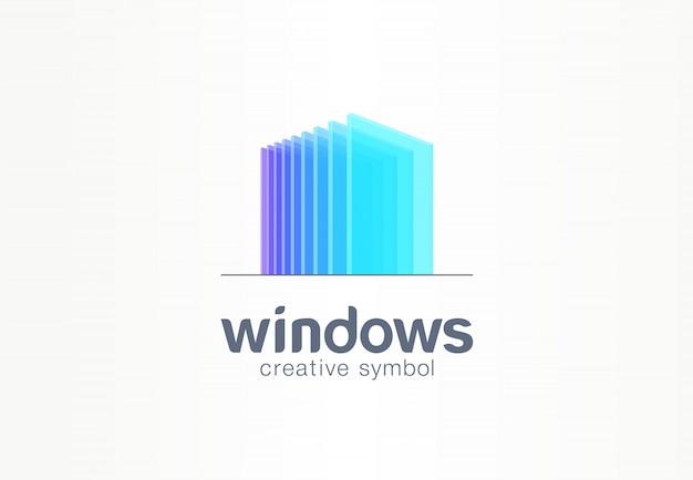 Janelas 3d, conceito de símbolo criativo de vidro. construção, arquitetura, imóveis, idéia de logotipo de negócio abstrato. casa, compilação, ícone da casa Vetor Premium
