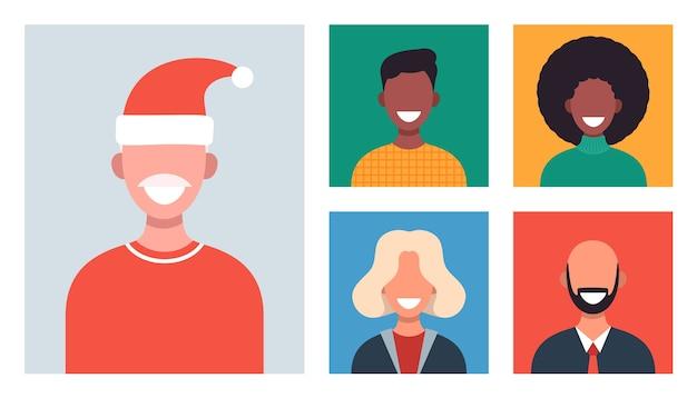 Janelas da web com diferentes pessoas conversando por videoconferência. homens e mulheres sorridentes trabalham e se comunicam remotamente. família de natal ou amigos se encontrando online. Vetor Premium