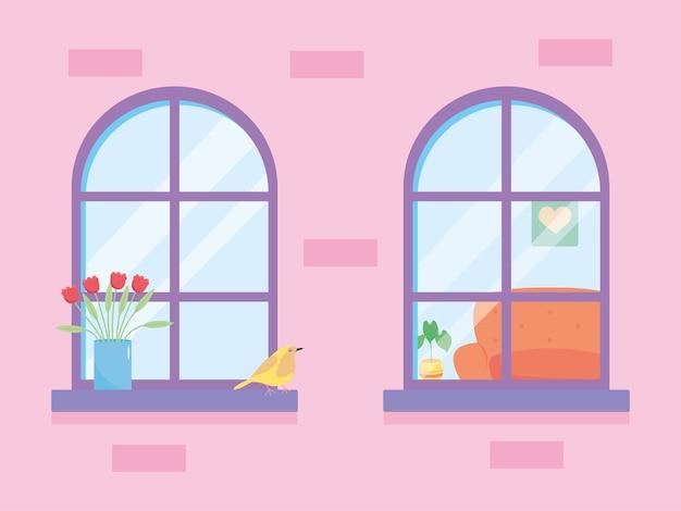Janelas de casa com plantas e pássaros Vetor Premium