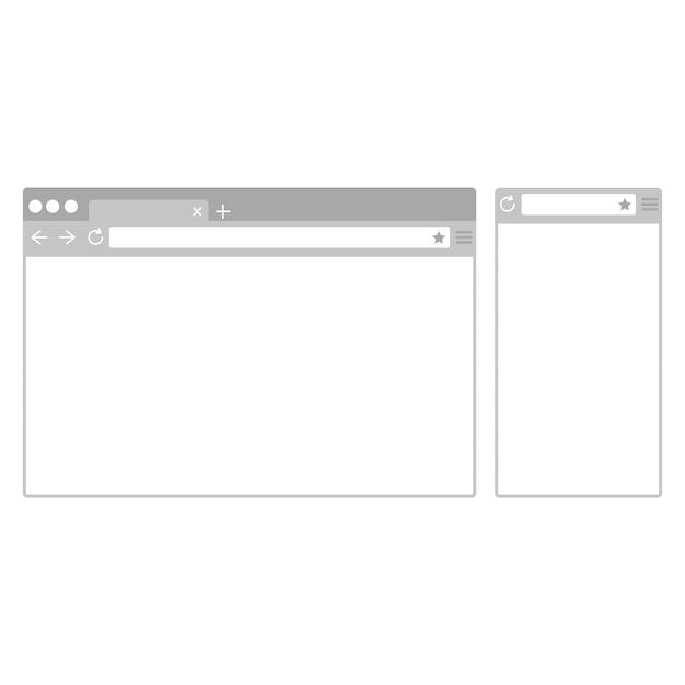 Janelas do navegador de desktop e celular. navegador web de dispositivos diferentes em estilo design plano. Vetor Premium