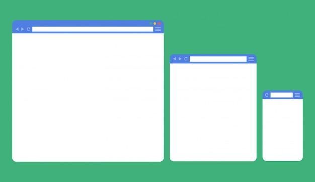 Janelas do navegador em branco para diferentes dispositivos Vetor Premium