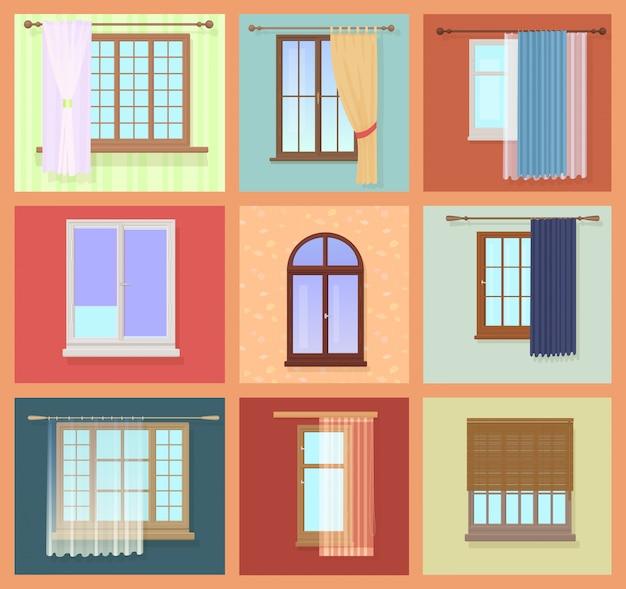 Janelas vintage com cortinas Vetor Premium
