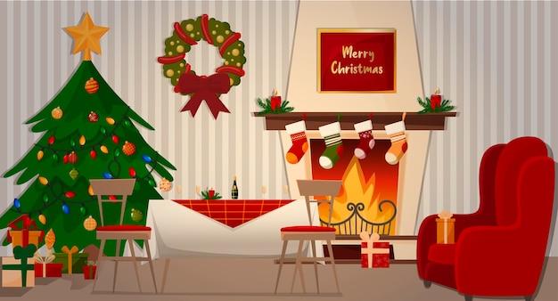 Jantar caseiro com sua família. lareira, poltrona, árvore de natal, mesa festiva e presentes. Vetor Premium