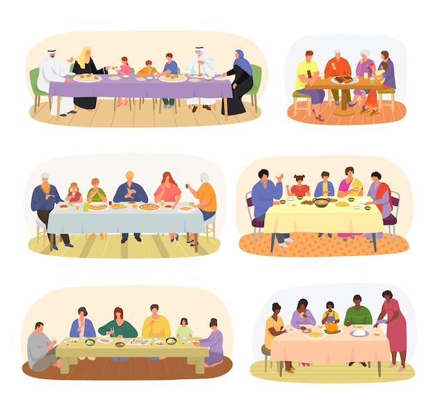 Jantar em família, famílias de diferentes nacionalidades sentadas à mesa de jantar conjunto de Vetor Premium