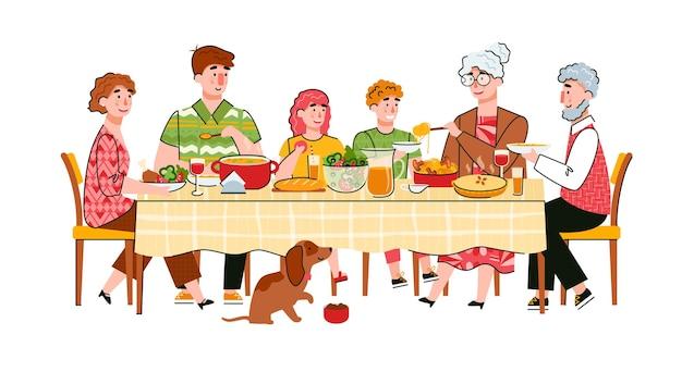 Jantar em família ou celebração da cena do evento familiar com personagens de desenhos animados de adultos e crianças à mesa Vetor Premium