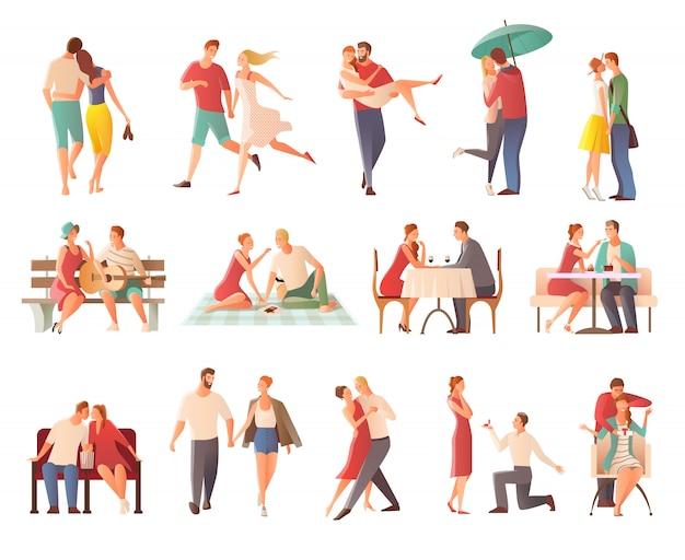 Jantar romântico namoro casais coleção personagens isolados plana com amantes se beijando indo para a caminhada dando presentes Vetor grátis