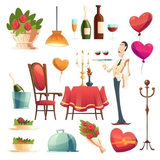 Jantar romântico no dia dos namorados Vetor grátis