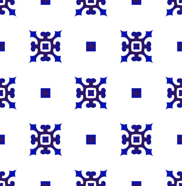 Japão azul e branco e chinês padrão sem emenda, porcelana design de cerâmica Vetor Premium