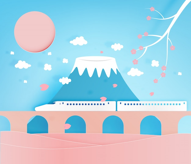 Japão grande montanha fundo papel arte estilo ilustração em vetor Vetor Premium