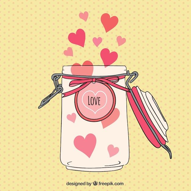 Jar com corações Vetor grátis