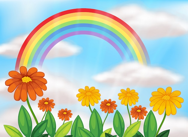 Jardim de flores e lindo arco-íris Vetor grátis