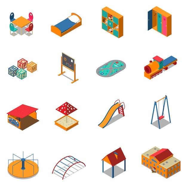 Jardim de infância jogar chão isométrica ícones Vetor grátis