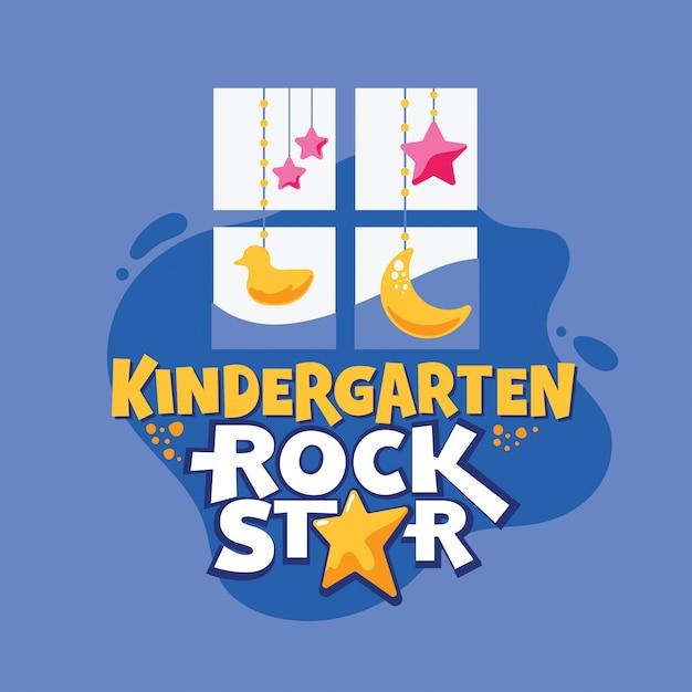 Jardim de infância rock star frase, janela com pato e estrelas, volta para ilustração de escola Vetor Premium