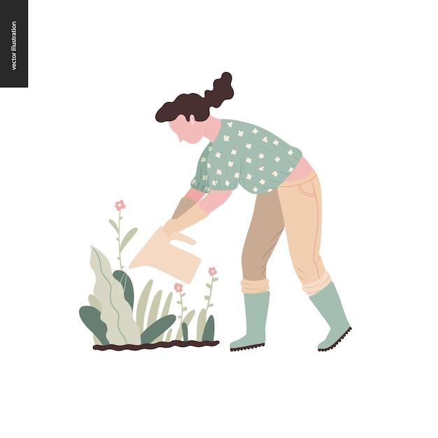 Jardinagem de verão mulher - ilustração do conceito vector plana de uma jovem mulher regar uma planta Vetor Premium