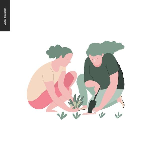 Jardinagem de verão pessoas - ilustração em vetor plana conceito de duas jovens mulheres sentadas no chão na posição de cócoras plantar uma planta no solo com uma colher, conceito de auto-suficiência Vetor Premium