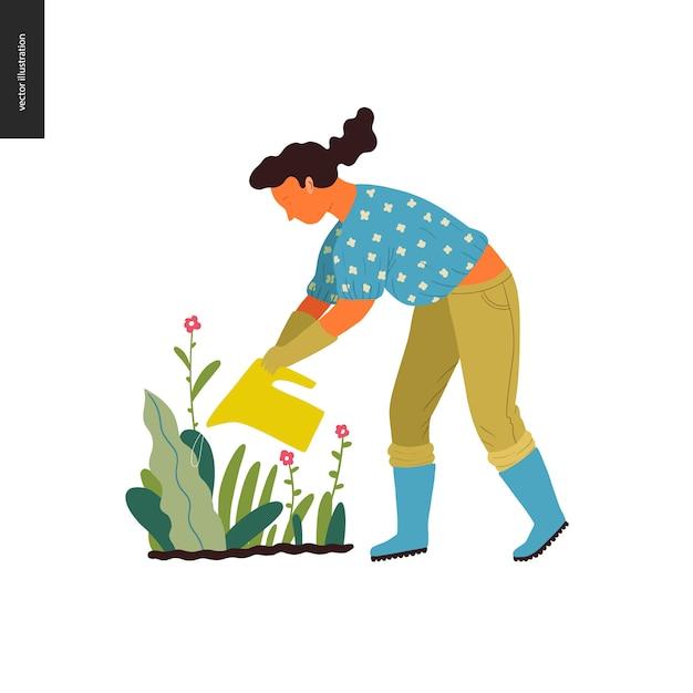 Jardinagem de verão pessoas - ilustração em vetor plana conceito de uma jovem mulher Vetor Premium