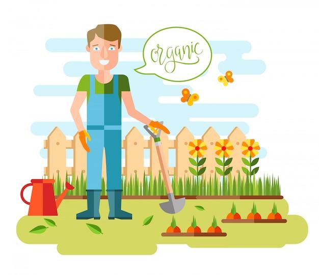 Jardinagem e horticultura, ferramentas de passatempo, caixote de legumes e plantas. Vetor grátis