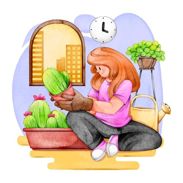 Jardinagem em casa conceito Vetor grátis