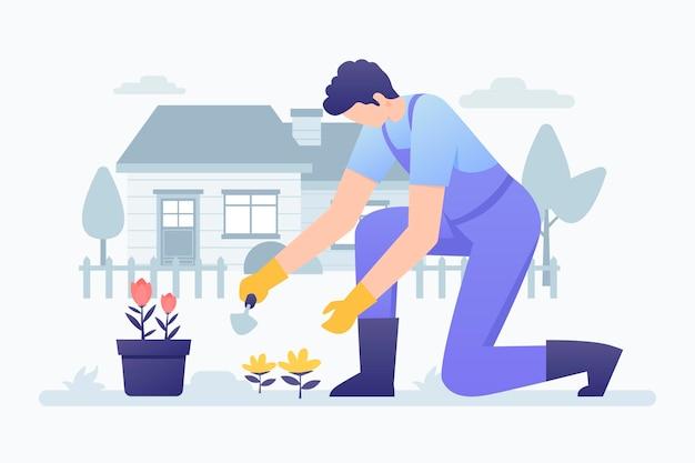 Jardinagem em casa ilustração com homem Vetor grátis
