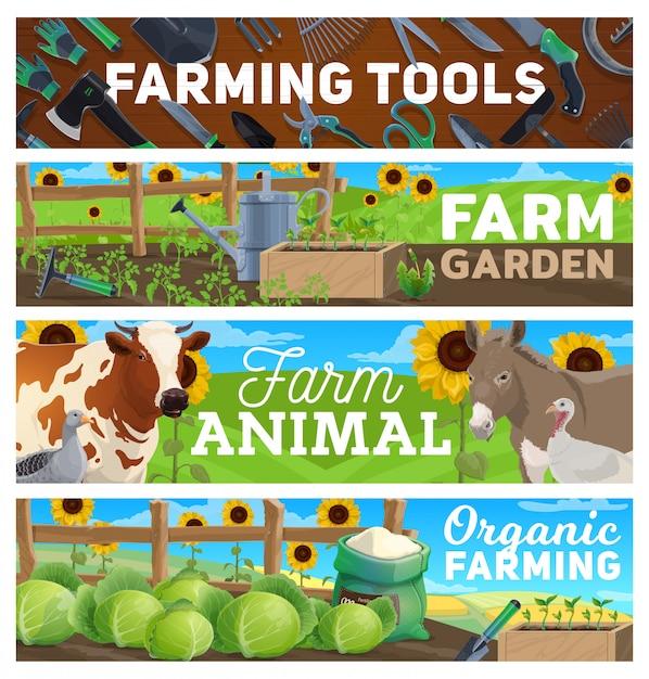 Jardinagem, ferramentas agrícolas agrícolas, animais Vetor Premium