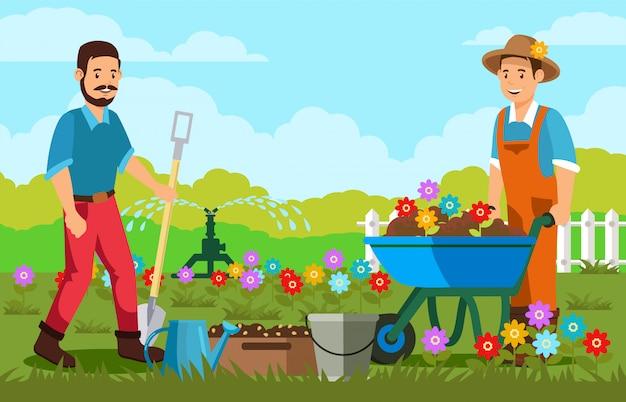 Jardineiros, plantando flores, vetorial, ilustração Vetor Premium