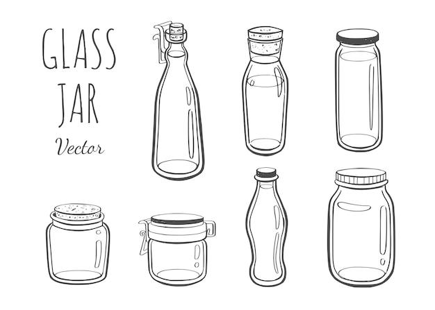 Jarra de vidro para geléia ou outros produtos ilustração desenhada à mão Vetor Premium