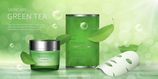 Jarra de vidro verde e máscara de folha facial Vetor grátis