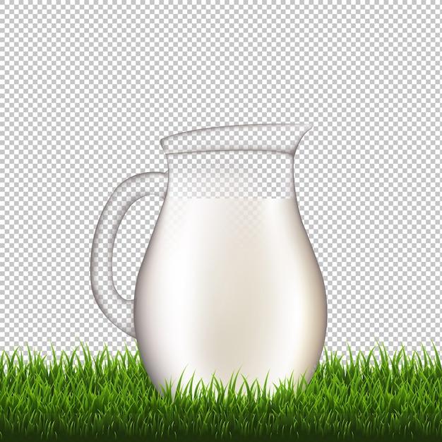 Jarro com fundo transparente de borda de grama com malha gradiente, ilustração Vetor Premium