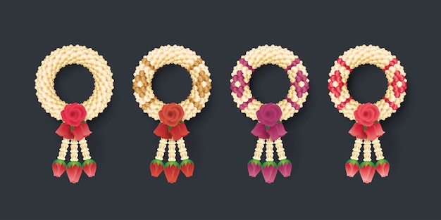 Jasmim e rosas tailandeses garland, ilustração da arte tailandesa Vetor Premium