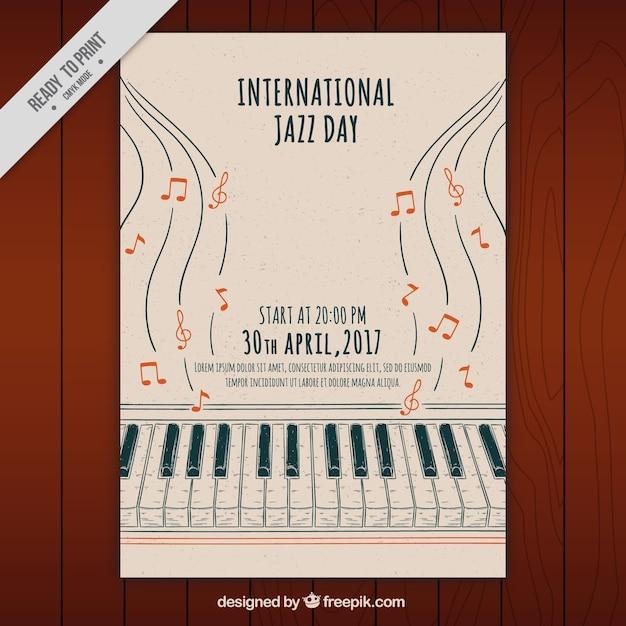 Jazz desenhados à mão brochura de piano Vetor grátis